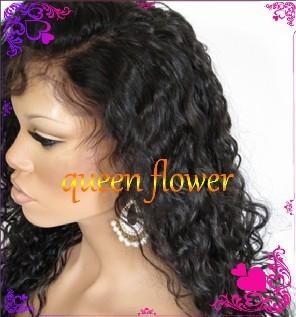 Wholesale!!!African American Women Brazilian virgin human hair Glueless Front Lace Wig in stock free shipping