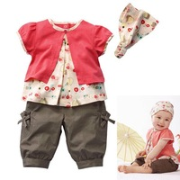 3 Pcs Kids Baby Girls Fruits Pattern Top+Pants+Hat Set Outfits Clothes 0-3 Years Free shipping & Drop shipping  XL045