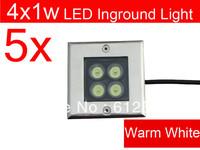 5pcs/lot Free Shipping 4w Square led underground light 85-265v Pure/Warm White led inground light outdoor lighting