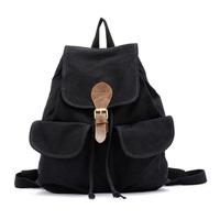 Canvas Female Ladies Girls Fashionable Backpack Rucksack Knapsack Daypack Travel School Bag - Black