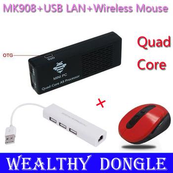 MK908 TV Stick Quad Core Rk3188 A9 1.8GHz 2GB RAM MK 908 Android 4.2 mini PC Google TV Box Dongle+USB RJ45 HUB+Wireless Mouse