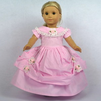 "Doll Clothes Fits 18"" American Girl Dolls, Doll Dress, Pink Victorian Evening Gown, 1pcs, Girl Birthday Present, Xmas Gift, H02"