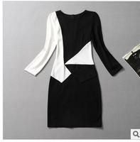 Women Long Sleeve Cotton Casual Dress 2013 Winter Patchwork knee-Length White Black Dresses Free