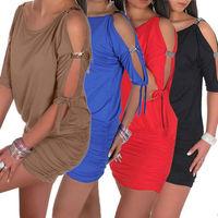 Fashion Women Ice Silk Rhinestone Shoulder Strap Above Knee Sexy Short Mini Club Dress WE0837#M1