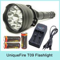 Super Bright UniqueFire UF-T09 9 x Cree XM-L T6 LED 4-Mode 10000 Lumens Flashlight Torch Searchlight (3 x 26650) For Camping