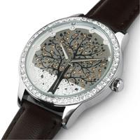 2013 New Fashion SKONE Brand Men Women Genuine Leather Quartz Watch Happy Tree Christmas Gift Diamond Dress Clock,Free Shipping