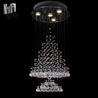 Free shipping Minimalist modern K9 crystal chandelier LED wire line the lobby staircase living room villa 85cm80011