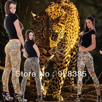 Wholesale Woman Stylish Wild Leopard print Leggings Tattoo Seamless Sexy Animal Look Fashion Jeggings Free shipping
