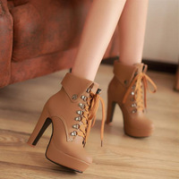 Fashion thick heel lacing martin boots 31 32 33 40 41 42 43 size ultra high heels ankle boots