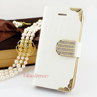 2013 Awesome Leather Shining Bling Crystal White Flip Wallet Luxury Case Cover for iPhone 5 5G Free Shipping