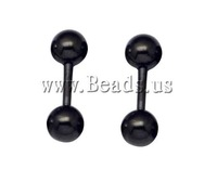 Free shipping!!!Stainless Steel Ear Piercing Jewelry,Korea Jewelry, Barbell, black ionic, 4mm, 25Pairs/Lot, Sold By Lot