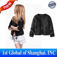 New 2013 High quality Baby Girl PU leather Jacket Winter coat western style children'sDesigner Girls Jackets freeshipping