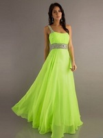 A-Line/Princess One-Shoulder Beading Sleeveless Floor-length Chiffon Prom Dress