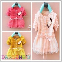 100% cotton 2013 baby Girl's dress,Bowknot style long sleeve bouffancy dress free shipping cute baby girls lace dress