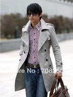 Free shipping! Hot Spring and Autumn men's double-breasted coat jacket Slim black silver ML-XL-XXL
