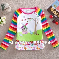 Free Shipping New 2013 NOVA In The Night Garden Print  Long Sleeves T-shirt Kid Girls Cotton Cartoon Clothing 2-6Years