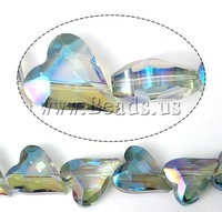 Free shipping!!!Imitation  Crystal Beads,for Jewelry, Heart, machine faceted, 22x18x10mm, Hole:Approx 2mm, 100PCs/Lot