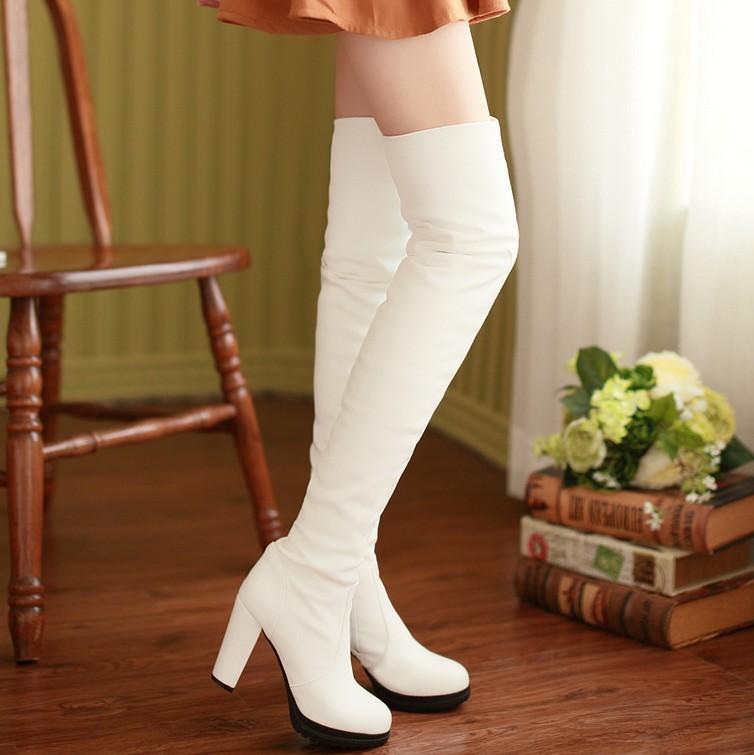 White suede platform thigh legs high heeled knee boots zipper women