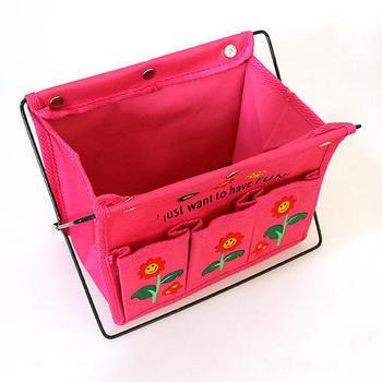 Non-woven folding basket storage desktop box /home table organizer color random