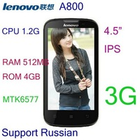 "In Stock New arrival Original Lenovo A800 4.5"" Capacitive IPS Screen MTK6577 Dual Core 3G Android 4.0 Phone Support Russian"