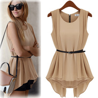 Fashion 2013 slim waist irregular medium-long chiffon shirt sleeveless solid color european style Blouses insert zipper back