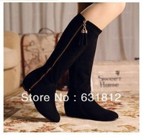2013 genuine leather boots flat elevator snow boots tassel boots repair high-leg