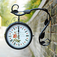 Free shipping Creative Furnishings European antique Watch Iron Retro art wall Black Wall Clock 609
