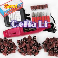 1set Pen Shape Electric Nail Drill Machine Art Salon Manicure File Polish Tool+6 Bits 4 way sanding Block 509 free shipping