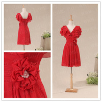Freeshipping! ER6018 New Fashion Red Chiffon Knee Length Evening Cocktail Dresses