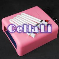 Pro 36W Pink UV NAIL Art CURING LAMP GEL DRYER BULB LIGHT ACRYLIC Tips Kit 512