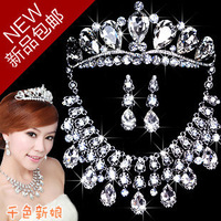 Bride accessories jewelry sets Crystal Necklace+Crown+Earrings wedding accessories sets free shipping W237