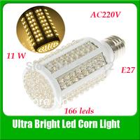 Free Shipping Ultra Bright Led Bulb E27 11W 166 LEDs Maize Lamp AC 220V Corn Bulb