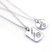 2.13Hot Gift Free Shipping Fashion Alloy Platinum Plating Lovers'  wedding Necklace High Quality Double Necklace Jewelry