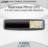 "4.3"" Car Rear View Mirror with GPS Navigation Navigator Bluetooth Touch Screen free map Camera Radar Detector optional"