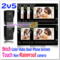 9inch Wired video intercom door phone systems/ door bells/doorphones With Waterproof Camera&Touch keys (2 cameras+5 LCD screens)