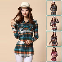 2014 autumn winter woman plaid shirt female long sleeve slim waist fashion cotton plaids blouse and top dress/M-2XL/dropshipping