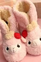 Lucky alpaca  sheep little lamb plush slippers barreled slipper pink strawberry alpaca sheep