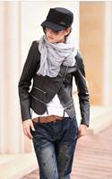 2014 autumn summer women's PU clothing female leather fur outerwear short design fashion woman faux fur leather coat jacket