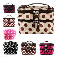 Lady Double Cosmetic Bag Retro Dot Beauty Case Makeup Bag Set Kit Toiletry Bag Free Shipping