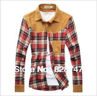 2014 New Fashion Hot  men's winter new wholesale network explosion models hit the color stitching Brushed cotton plaid shirt