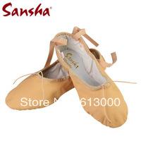 Sansha pig leather upper soft ballet shoes dance slippers pink/black free shipping