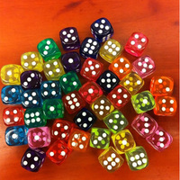 100PCS/Lot, Wholesale and retail 1.4cm multicolour transparent bosons dice game accessories Free shipping