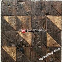 Natural wood mosaic tile NWMT055 design wood mosaics pattern 3D backsplash tile ancient wood mosaic tiles