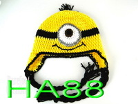 free shipping,10pcs/lot Despicable me minion beanie 100% handmade crochet baby/girls/boys hat
