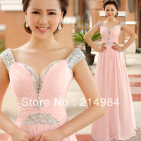 2014 Free Shipping Beaded Straps Sexy V-neck A-line Pink Chiffon Formal Evening Dress Prom Party Gown