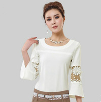 2013 hot sale women's fashion SEXY LONG SLEEVE Perspective LACE CHIFFON SHIRT BLOUSE 3size S-L 9904