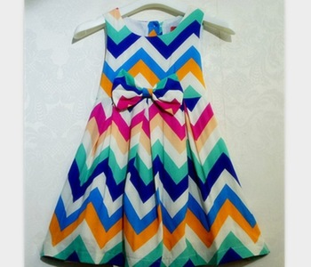 Free HK post shipping 5pcs/lot Girls casual chevron dress rainbow striped dresses fashion New 2013 summer kids Bow sundresses