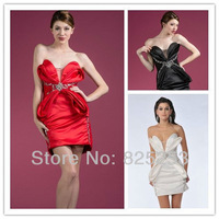 vestido de noiva SR-33 Hot Sale Fashion Sexy Three-color V-Neck Satin Mini Evening Dress prom dress 2013