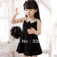 2013 Rose In Bloom New Baby Kids Children's Girls Lovely Sequins Collar Sleeveless Lace Vest Princess Dress Drop Shipping
