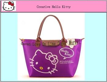 2013  Hot  Sale Hello Kitty  Shopping Bag  China Wholesale Handbag Waterproof  Bag Purple Color ( 1 piece) Free Shipping